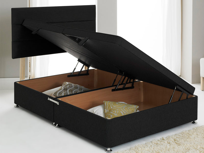 Vencil ST Ottoman Side Opening Bed Base in Chenille Black