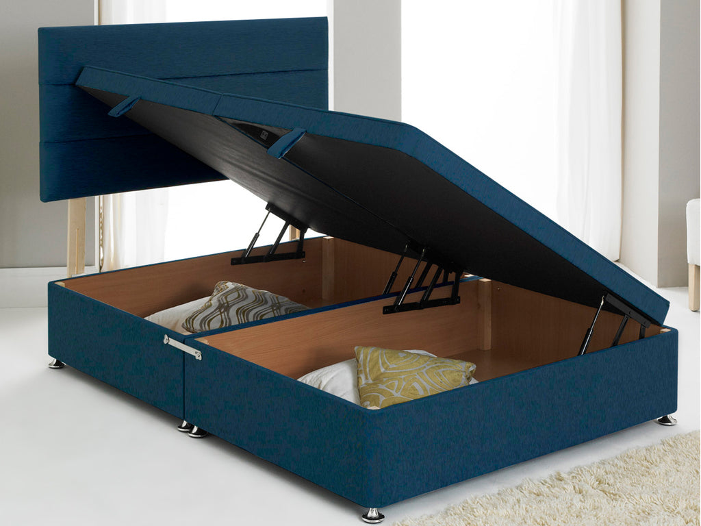 Vencil ST Ottoman Side Opening Bed Base in Chenille Blue