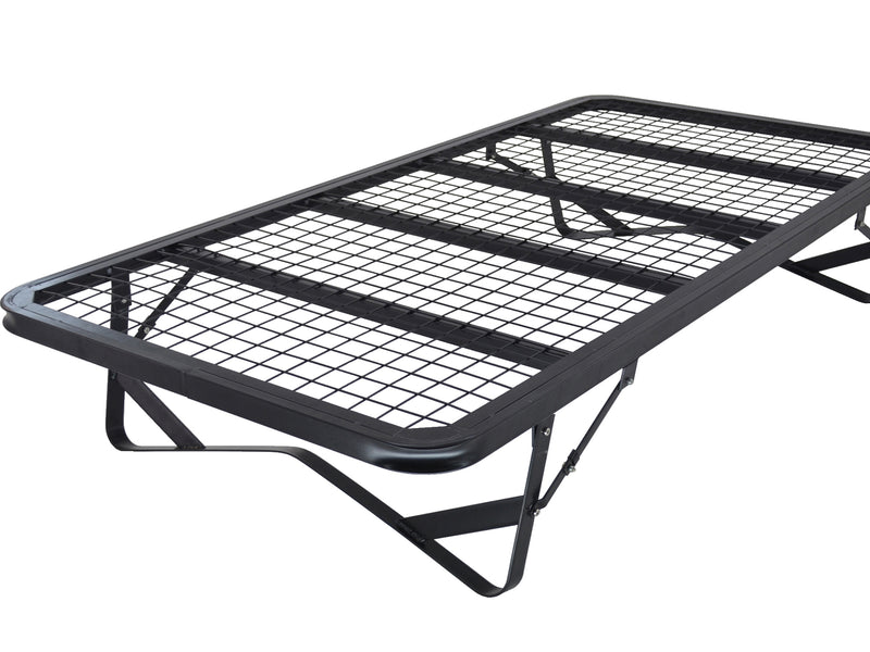 Skid Fold Away Mesh Metal Bed Frame in Black