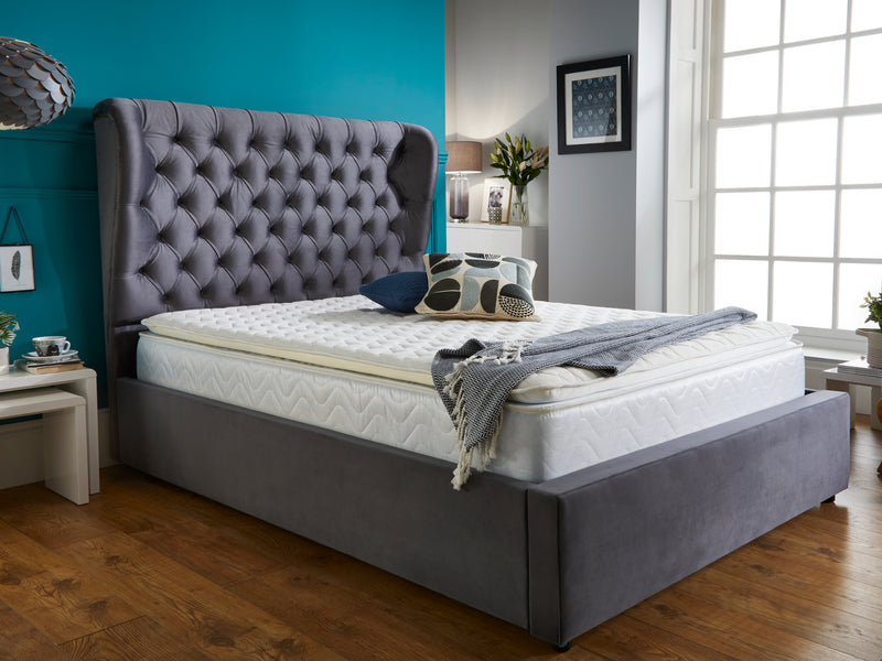 Olivia Luxury Bed Frame in Plush Velvet Charcoal