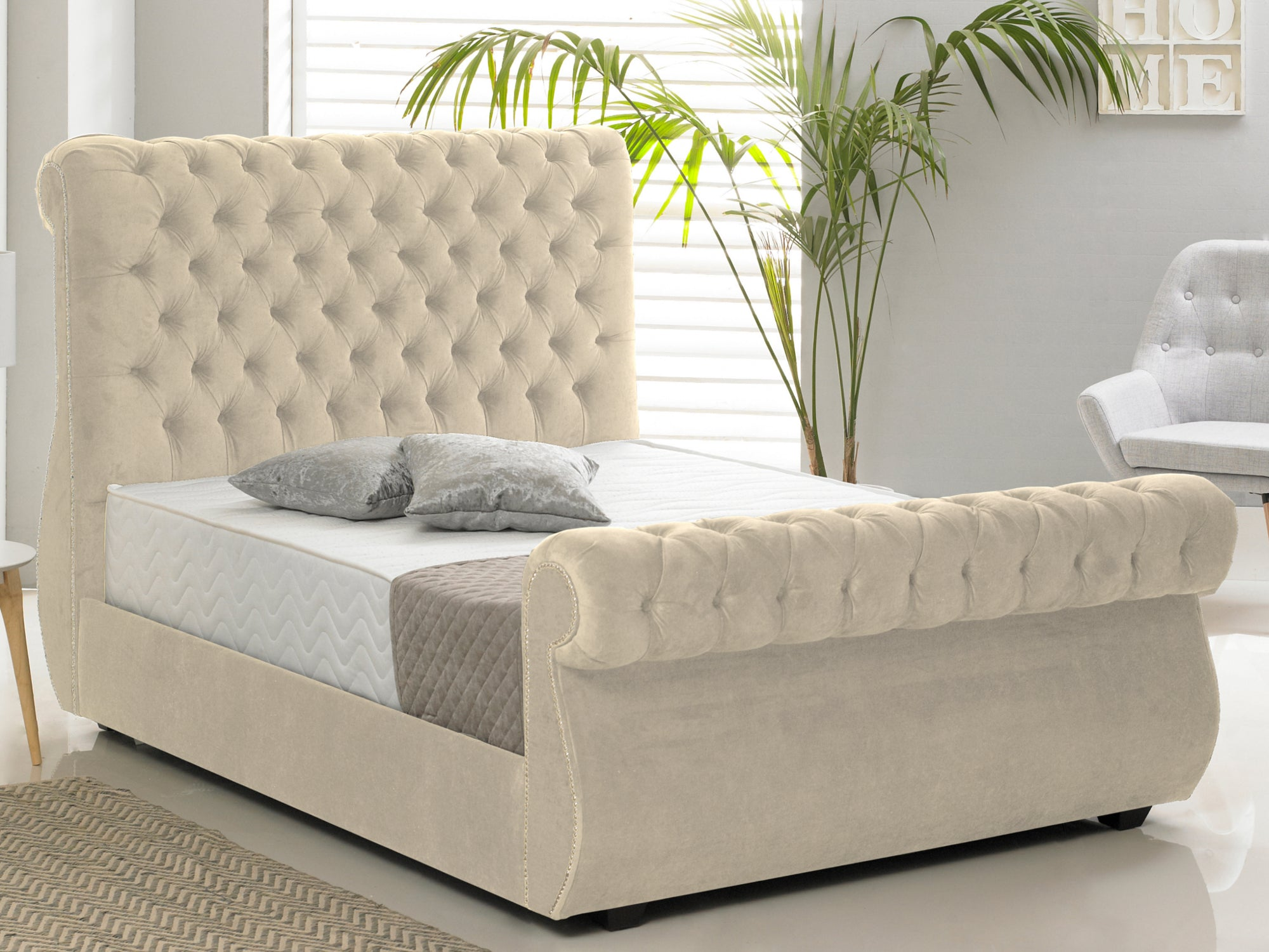 Chiswick Luxury Bed Frame in Hercules Cream – The Cosy Bedding Company