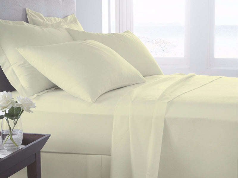 Belle Maison 400tc Egyptian Cotton Duvet Cover & Bed Sheets Cream