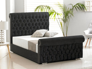 Buckingham Luxury Bed Frame in Crushed Velvet Black