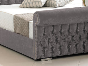 Buckingham Luxury Bed Frame in Crushed Velvet Charcoal
