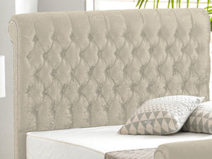Buckingham Luxury Bed Frame in Crushed Velvet Cream
