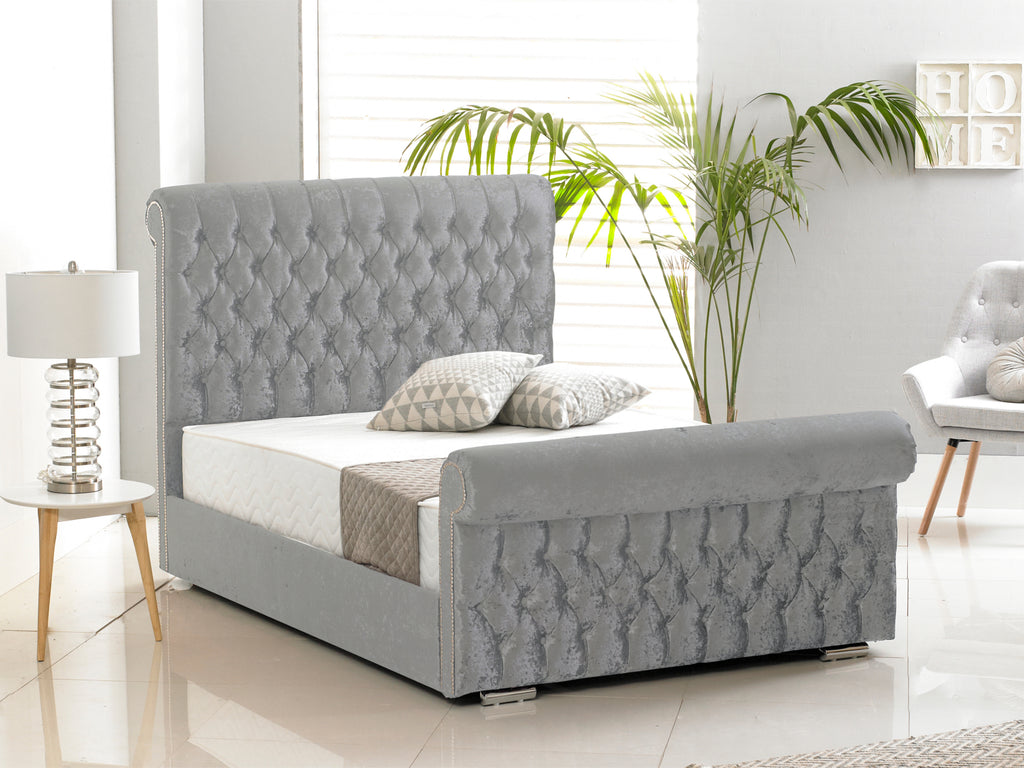 Buckingham Luxury Bed Frame in Crushed Velvet Silver