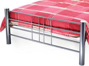 Cube Metal Bed Frame in Hammered Silver and Black