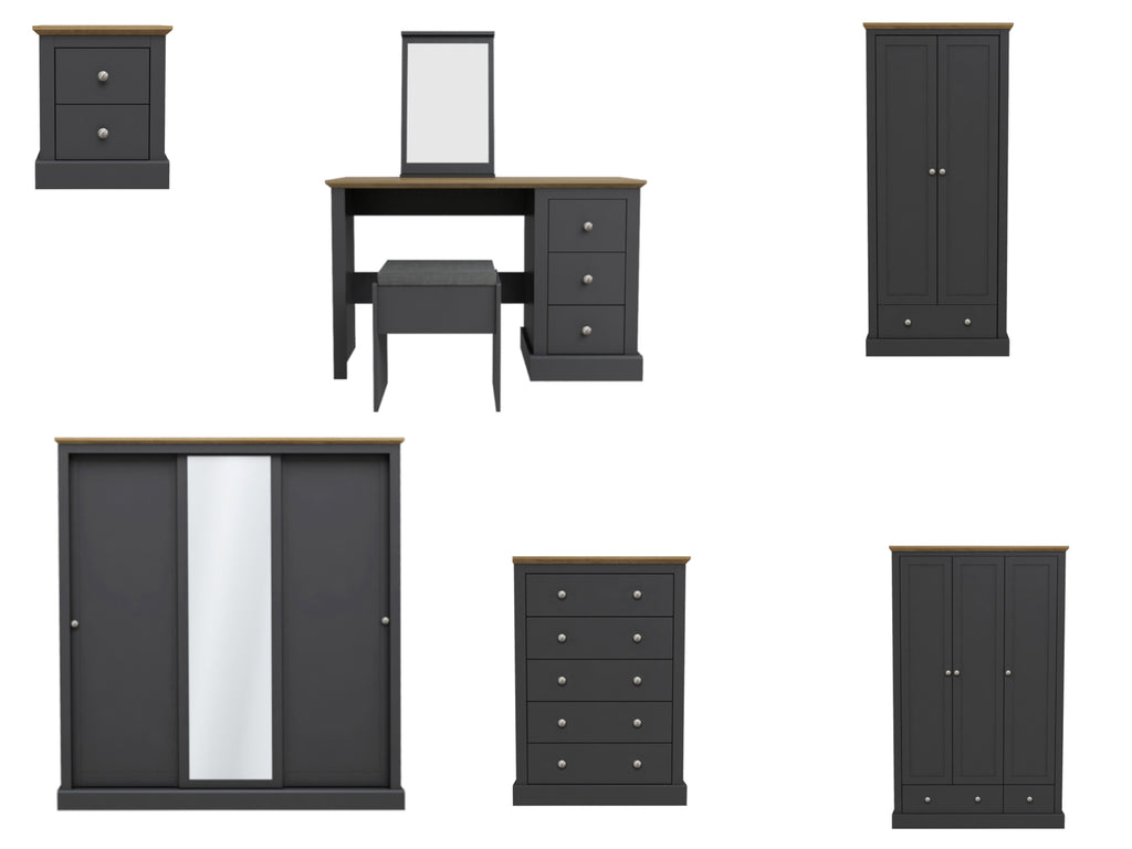 Devon Bedroom Furniture in Charcoal and Oak
