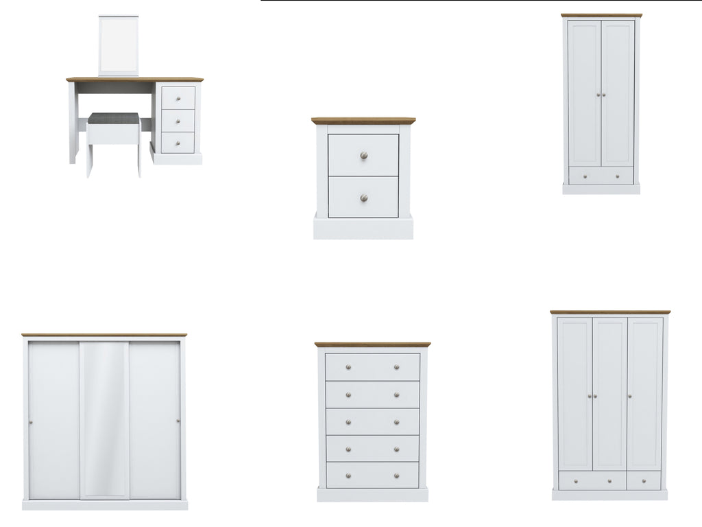 Devon Bedroom Furniture in White and Oak