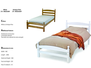 Modella Wooden Bed Frame in Antique Pine
