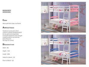 Modella Wooden Bunk Bed in White with Pink Panels