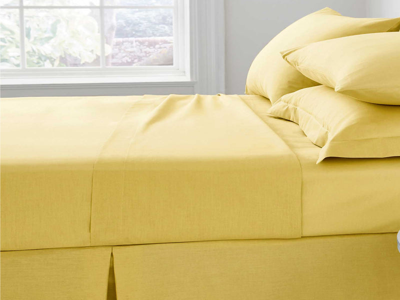 Percale Luxury Flat Sheet Ochre