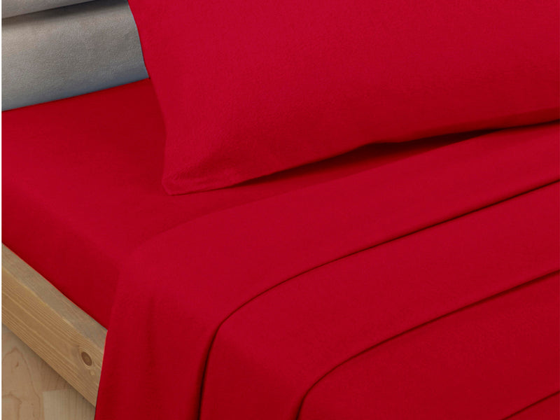 Percale Luxury Flat Sheet Red