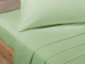 Percale Luxury Flat Sheet Soft Green