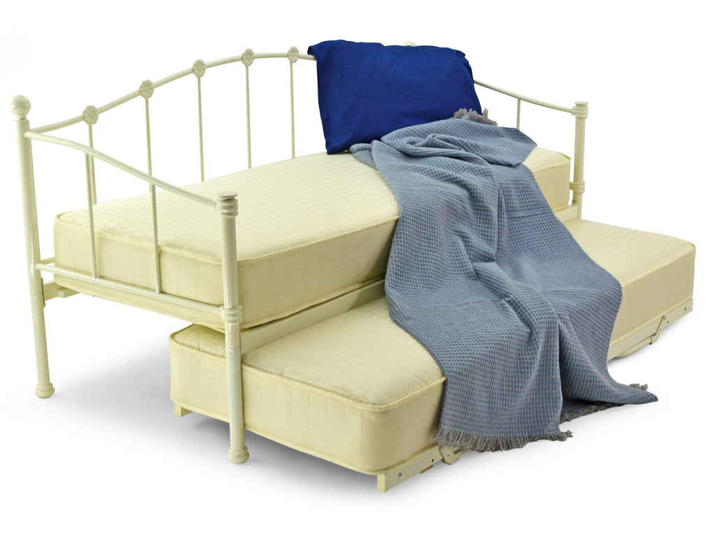 Peru Metal Day Bed and Guest Under Bed In Ivory