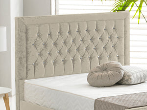 Sandringham Luxury Bed Frame in Crushed Velvet Cream