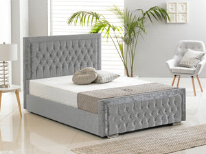 Sandringham Luxury Bed Frame in Crushed Velvet Silver