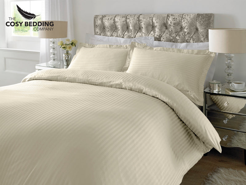 Sateen Stripe Luxury Bedding Set Ivory
