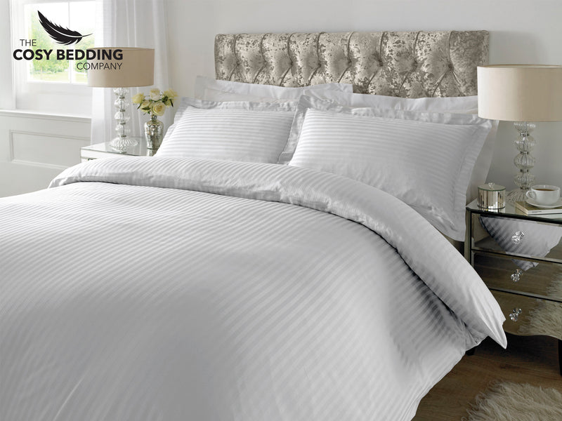 Sateen Stripe Luxury Bedding Set White