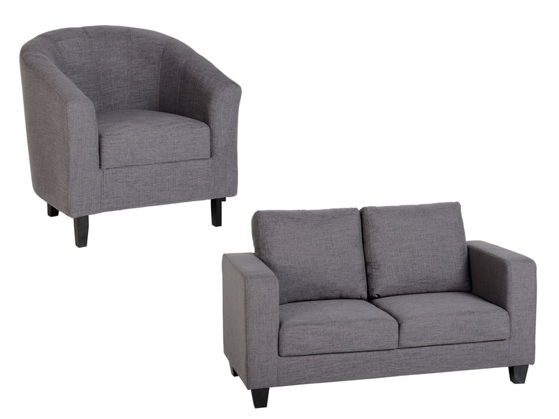 Tempo Sofa and Tub Chair in Grey Fabric