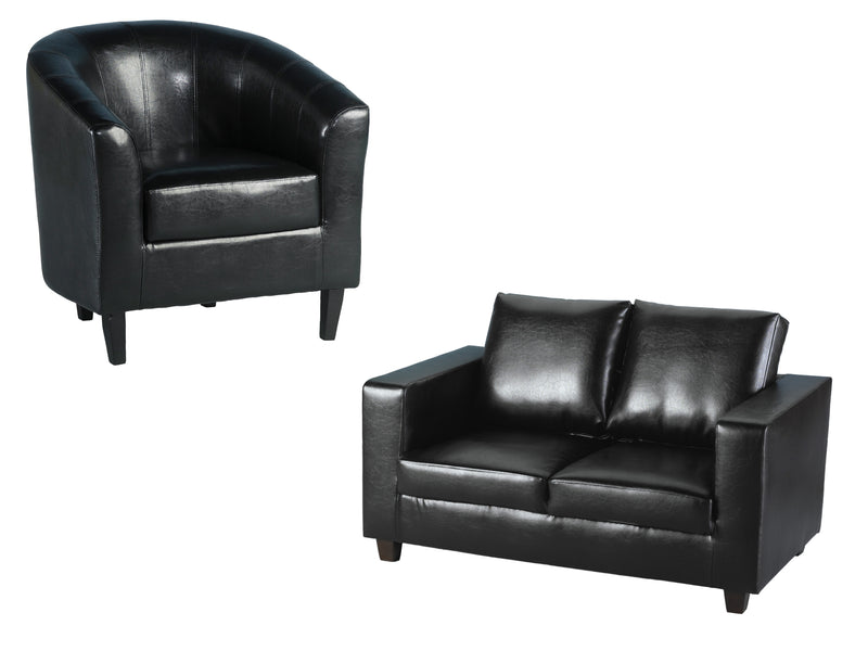 Tempo Sofa and Tub Chair in Black Faux Leather