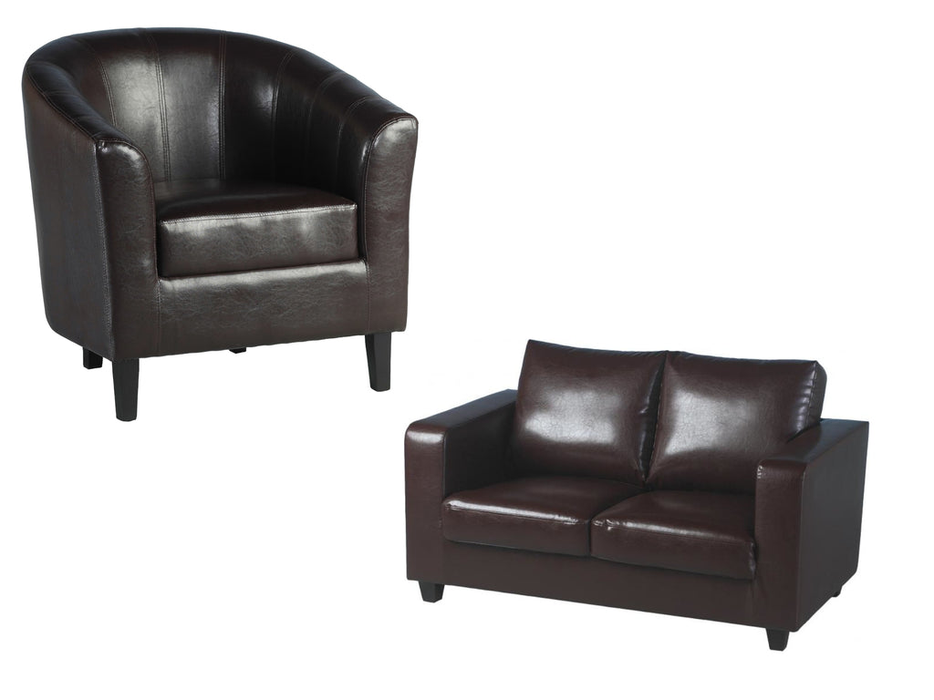 Tempo Sofa and Tub Chair in Brown Faux Leather