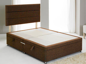 Vencil ST Ottoman Side Opening Bed Base in Chenille Brown