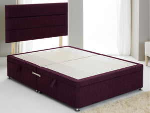 Vencil ST Ottoman Side Opening Bed Base in Chenille Purple
