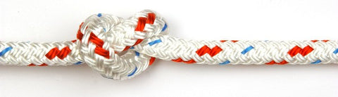 Kingfisher 8mm Cruising Polyester White with Red fleck rope per metre