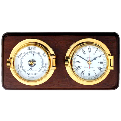 Brass Channel Clock & Barometer - vikingmarine