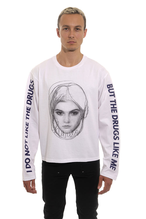 GIRL Oversized Long Sleeve T-Shirt - White