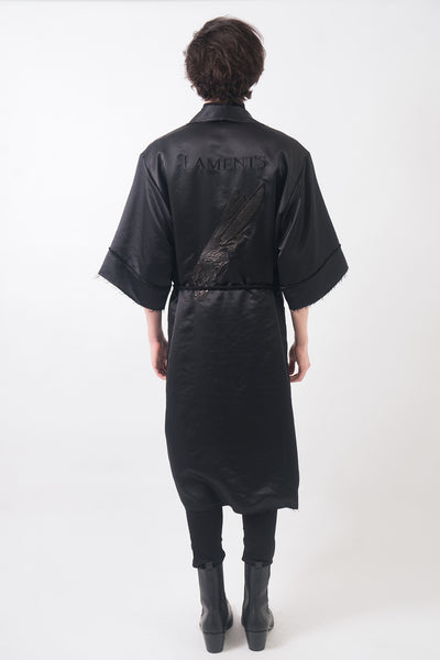 LAMENTS Embroidery Satin Robe