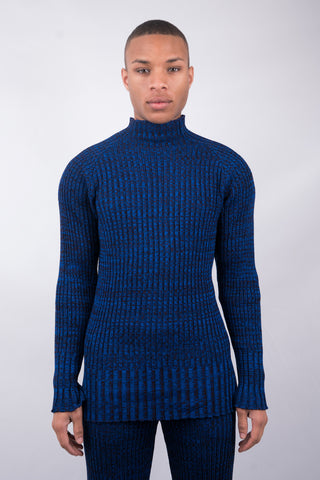Flickering Knit Sweater - Blue Melange - 60% Off!