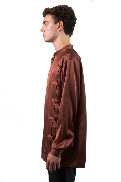 Satin Rotatory Chinese Shirt - Brown