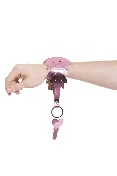 Short Keychain - Metallic Leather - Pink