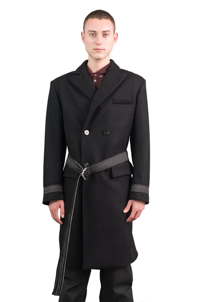 Double Breasted Wool Coat W/ Belt
