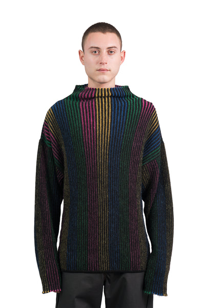 Reversible Rainbow Knit Sweater