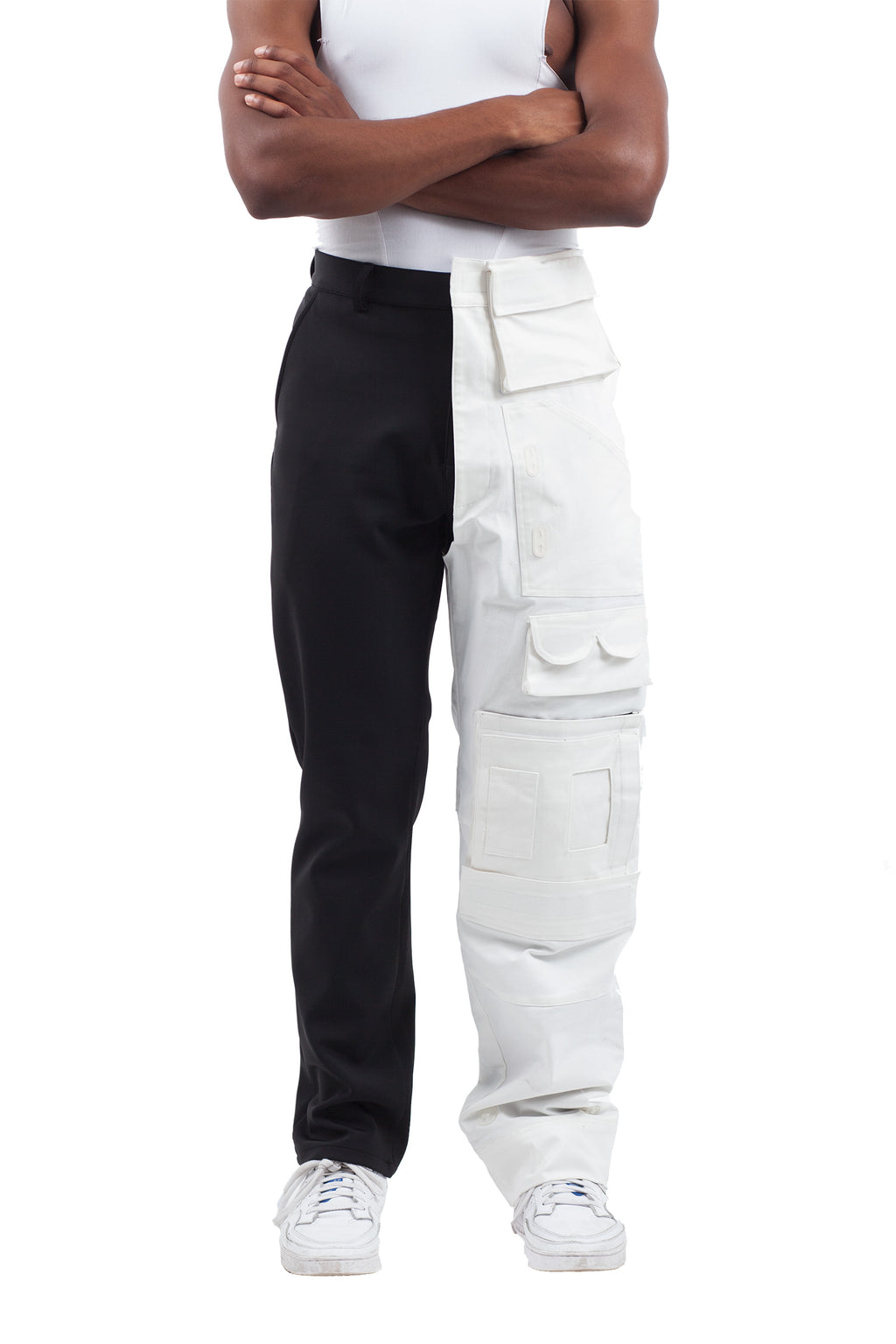 Half Cargo Trousers - Black/White