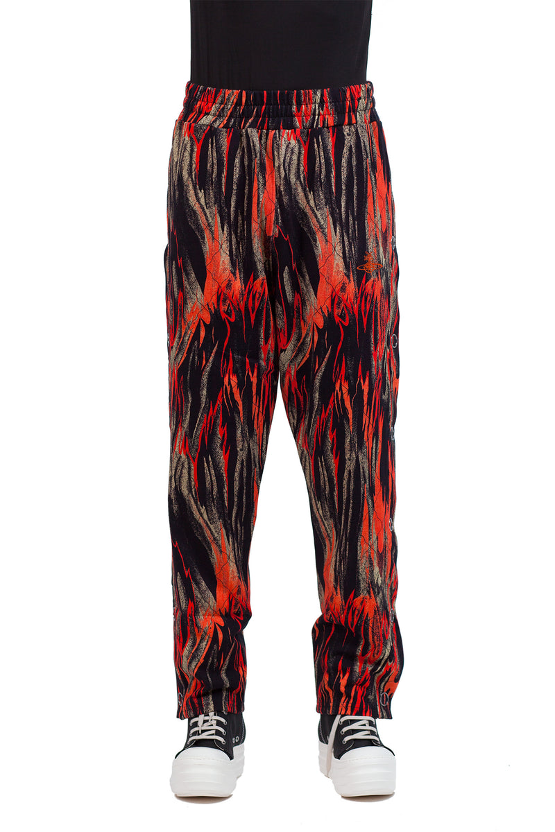 Snap Side Trousers - Flames Print