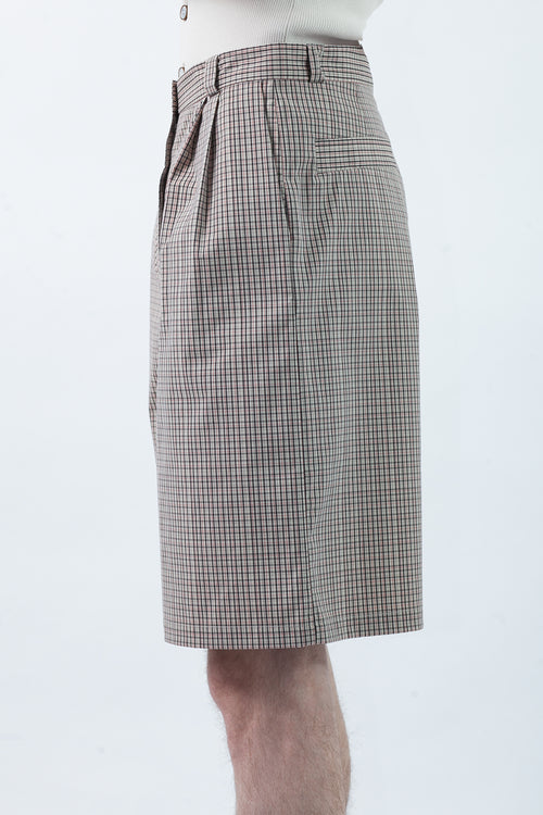 Pleat Shorts - Microcheck