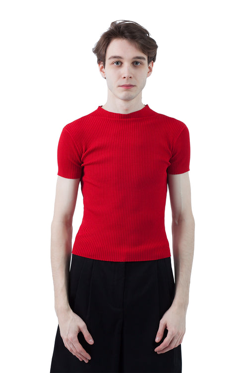 Mock Ruffle Neck Tee - Red
