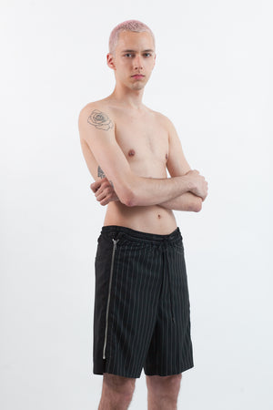 Pinstripe Zipper Shorts