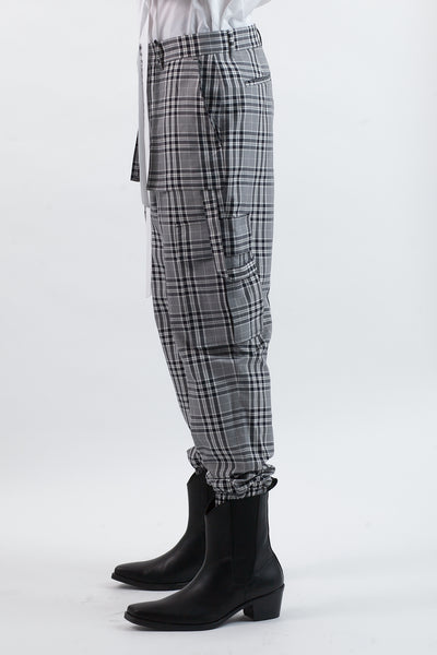 Plaid Cargo Trousers