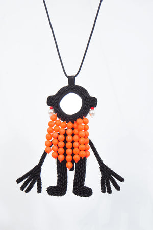 Mirrorman Necklace - Black/Orange