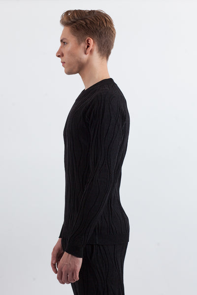 Wood Knit Sweater - Black