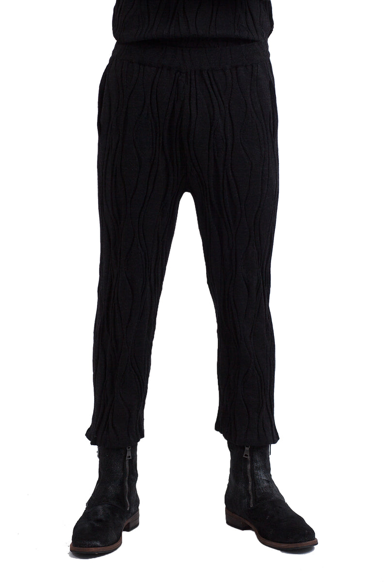 Wood Knit Pants Black