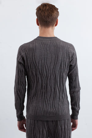 Wood Knit Sweater - Grey