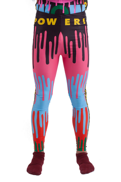Drip Monster Bike Leggings - Blue/Orange