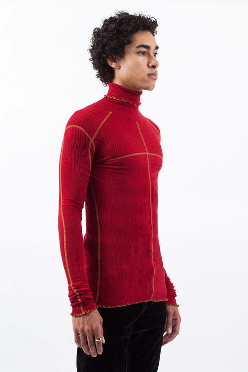Ribbed Jersey Turtleneck - Red