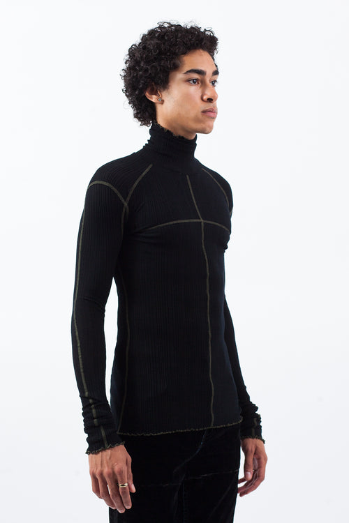 Ribbed Jersey Turtleneck - Black
